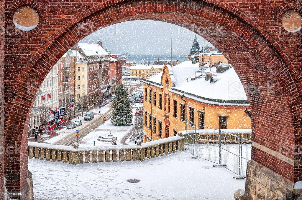 Helsingborg Winter Through the Archway stock photo