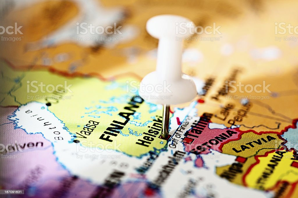 Helsinki, capital of Finland, pinpointed on Northern European map royalty-free stock photo