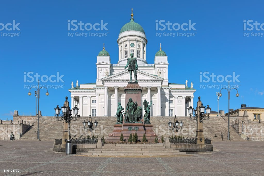 Helsinki cathedral and statue of Emperor Alexander II, Finland stock photo