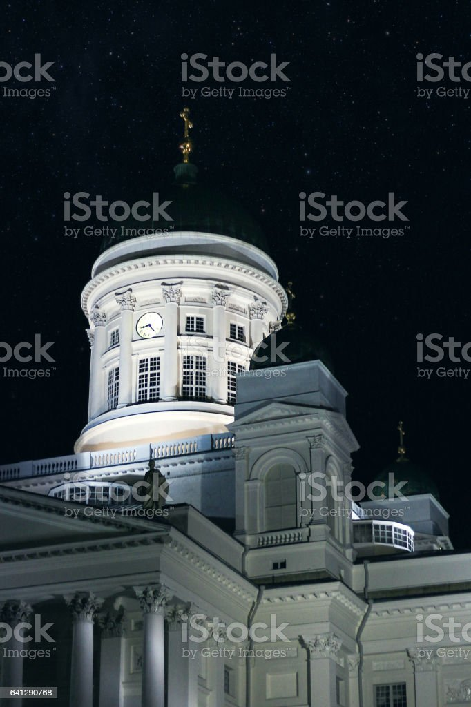 Helsinki Cathedral in city cente at night stock photo
