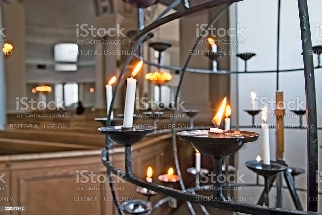 Helsinki. Finland. Candlestick in The City Cathedral stock photo
