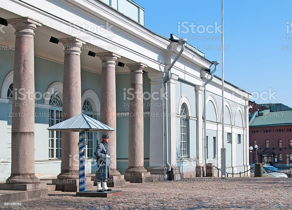 Helsinki. Finland. Guard soldier near guardhouse stock photo