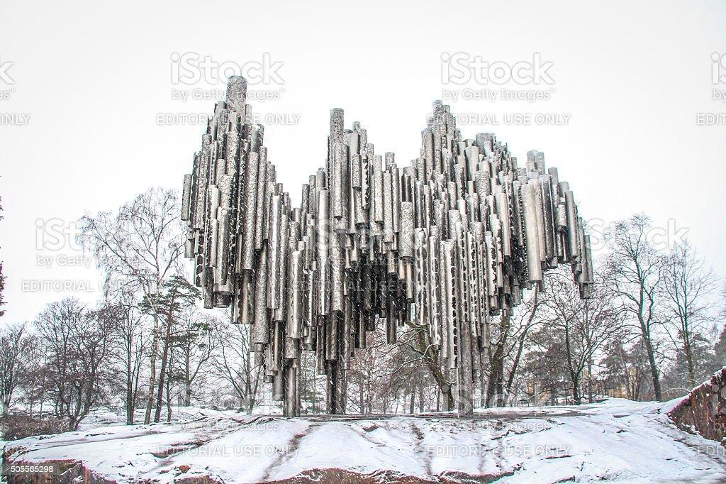Helsinki, Finland - March 03, 2014 - Sibelius monument stock photo