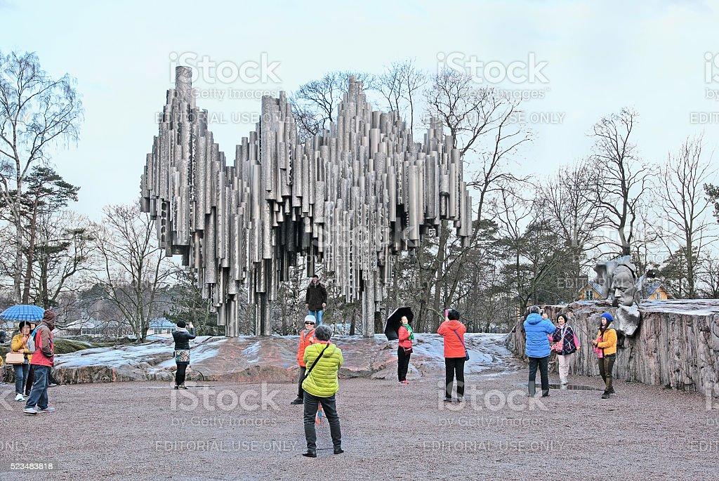 Helsinki. Finland. People near Sibelius Monument stock photo