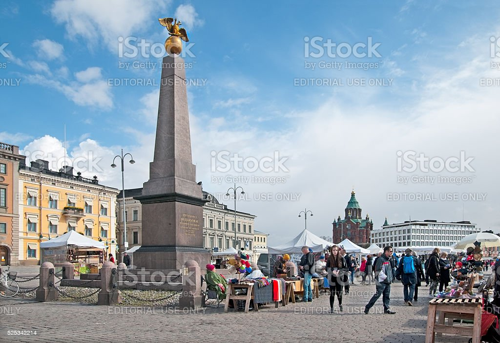 Helsinki. Finland. People on The Market Square stock photo