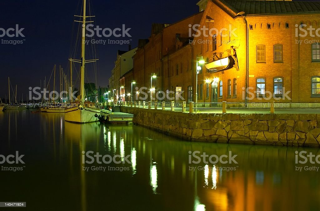 Helsinki Harbour at night royalty-free stock photo