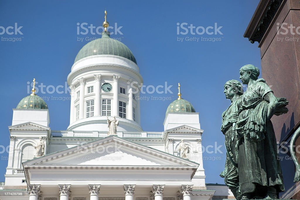 Helsinki Lutheran Cathedral domes with russian sculptures. Finland royalty-free stock photo