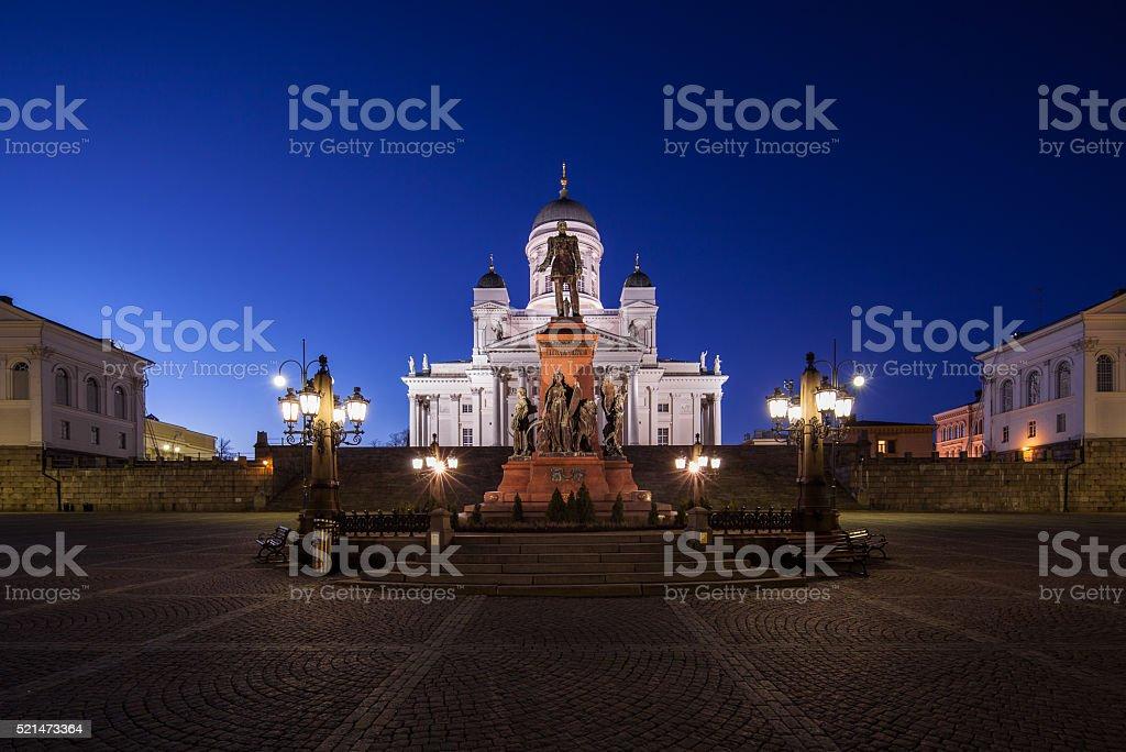 Helsinki Senate Square at Night stock photo