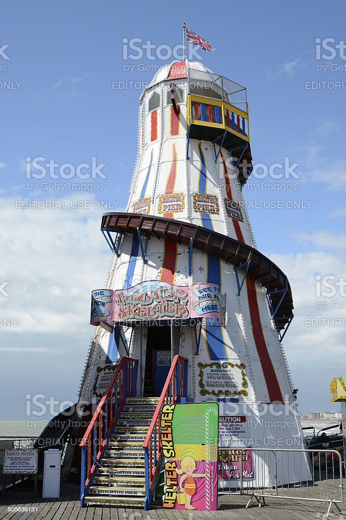 Helter Skelter on Brighton Pier. England stock photo