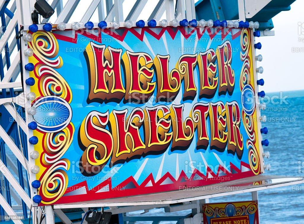 Helter Skelter sign stock photo