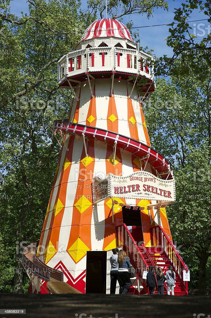 Helter Skelter Tower at Funfair Carnival Hyde Park royalty-free stock photo