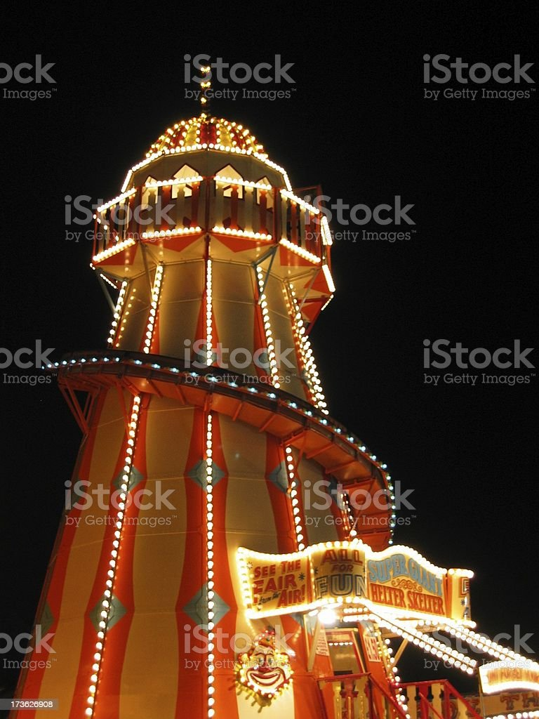 Helter-Skelter at night stock photo