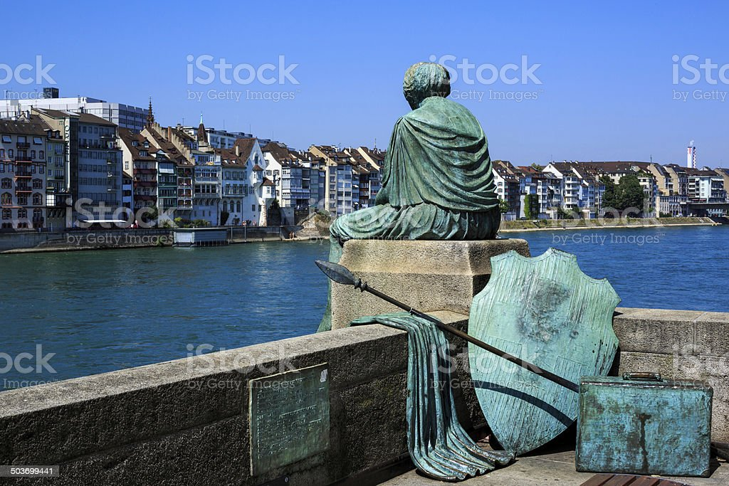 Helvetia statue on the Rhine in Basel, Switzerland stock photo