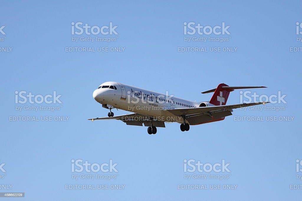 Helvetic Airways Fokker 100 HB-JVE stock photo
