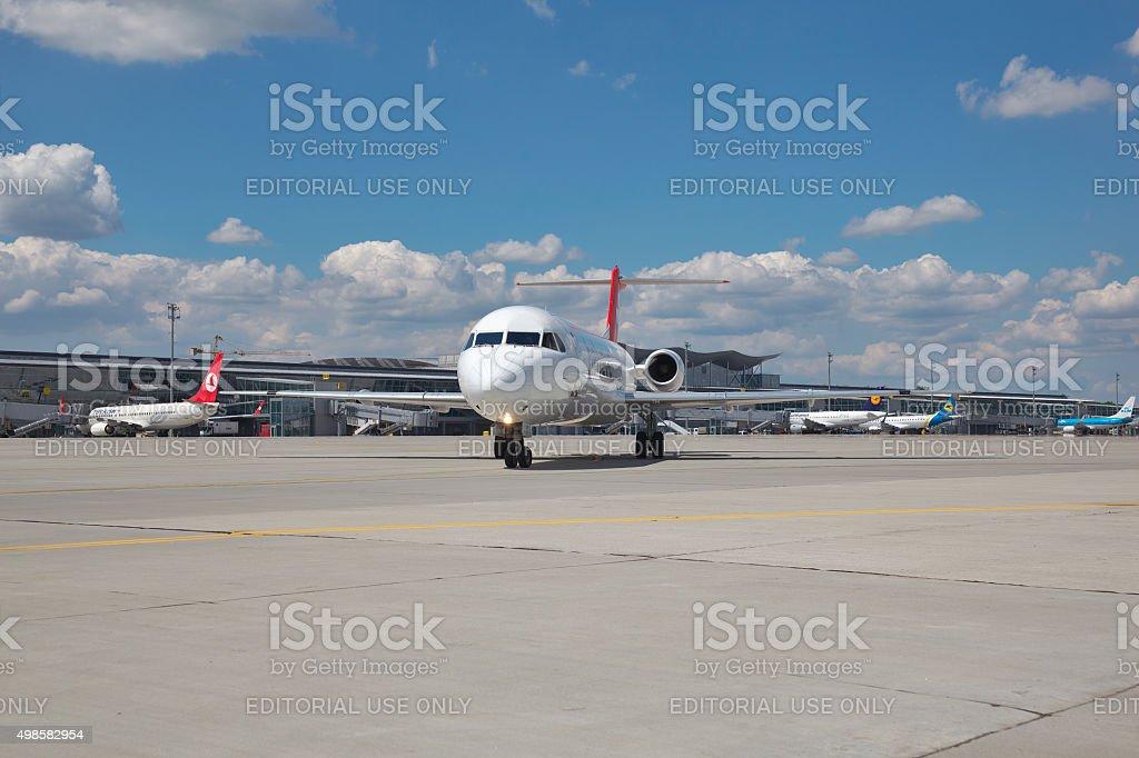 Helvetic Airways Fokker 100 stock photo