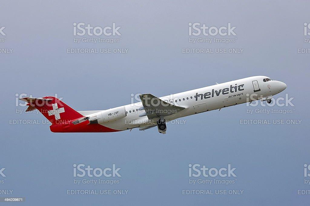 Helvetic Airways Fokker F100 stock photo