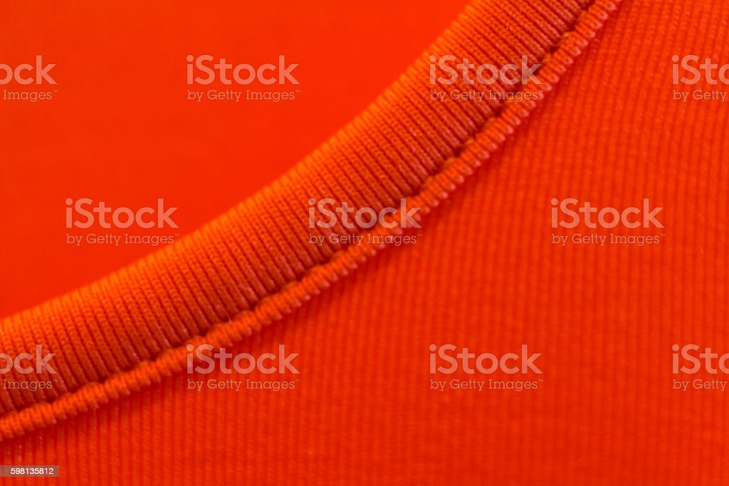 Hem on a red t-shirt stock photo