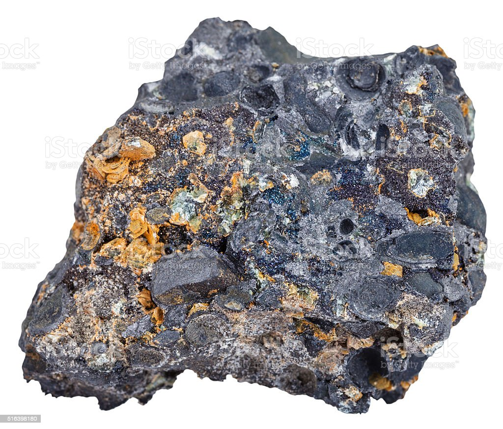 hematite (iron ore) with magnetite crystals stock photo