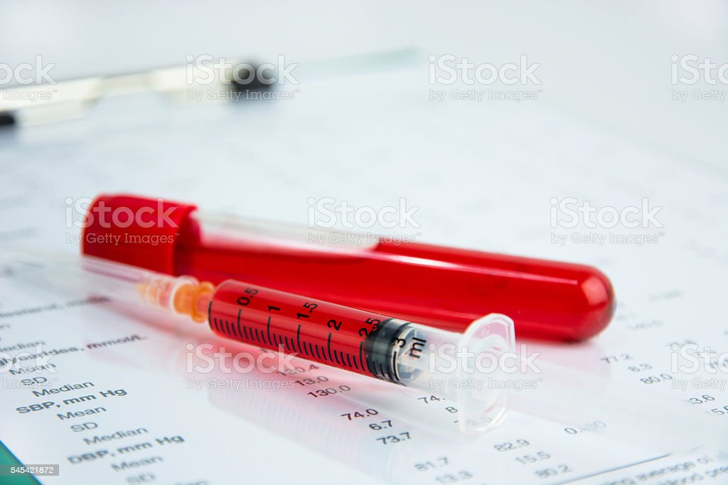 Hematology blood analysis report with lavender color blood sampl stock photo