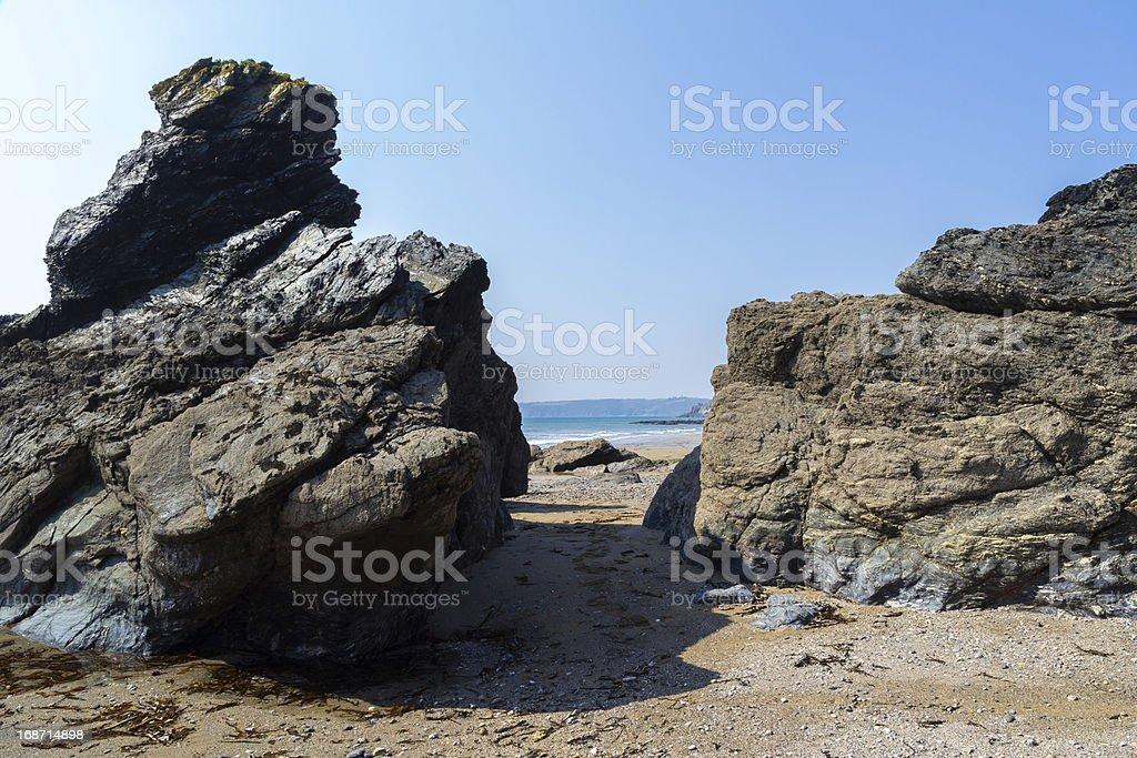 Hemmick plage Cornwall photo libre de droits