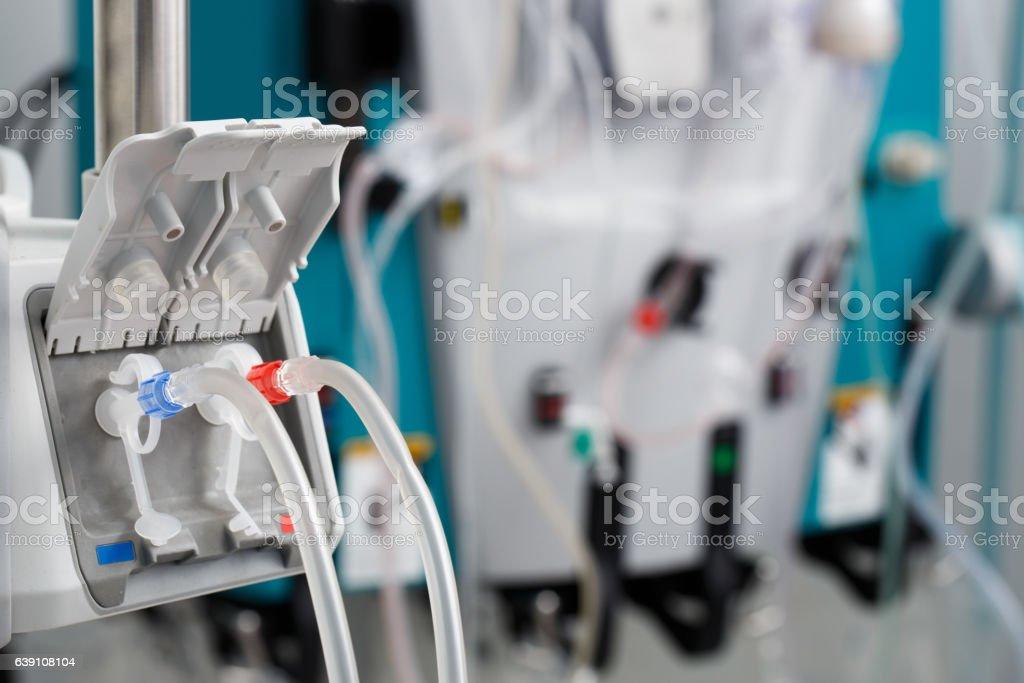Hemodialysis bloodline tubes in dialysis machine stock photo