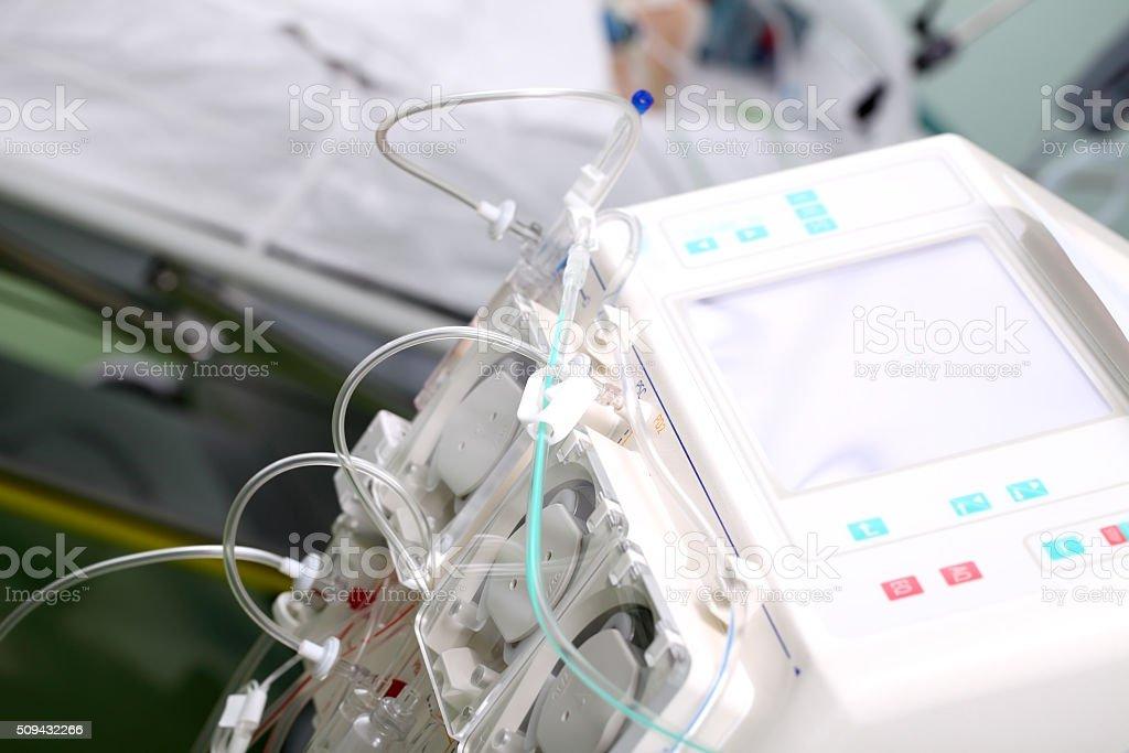 Hemodialysis machine in the ward stock photo