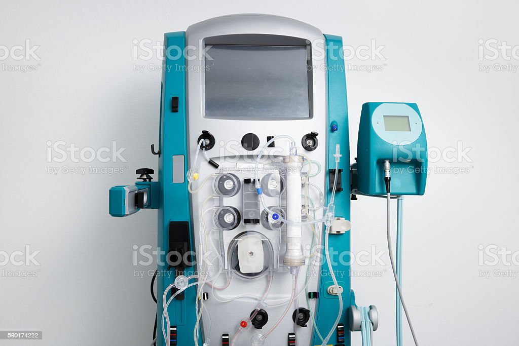 Hemodialysis machine with tubing and installations stock photo
