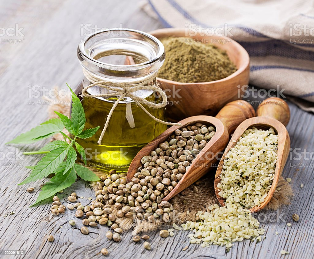 Hemp oil n a glass jar stock photo
