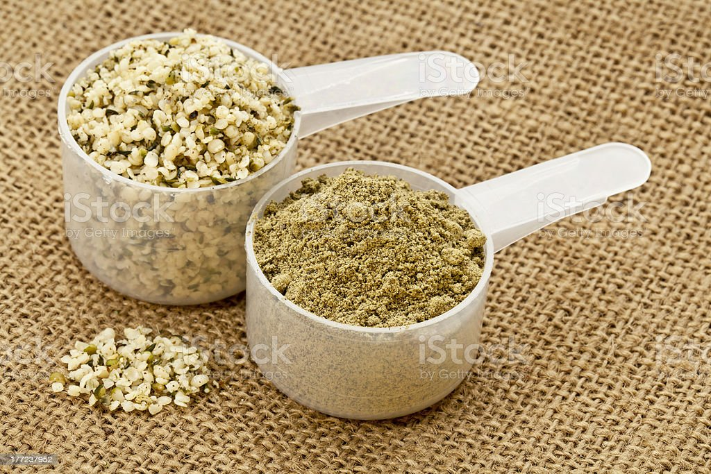 hemp protein powder and seeds stock photo