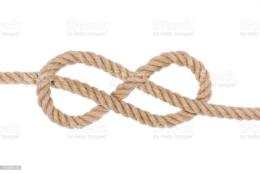 Hemp Rope Knot. stock photo