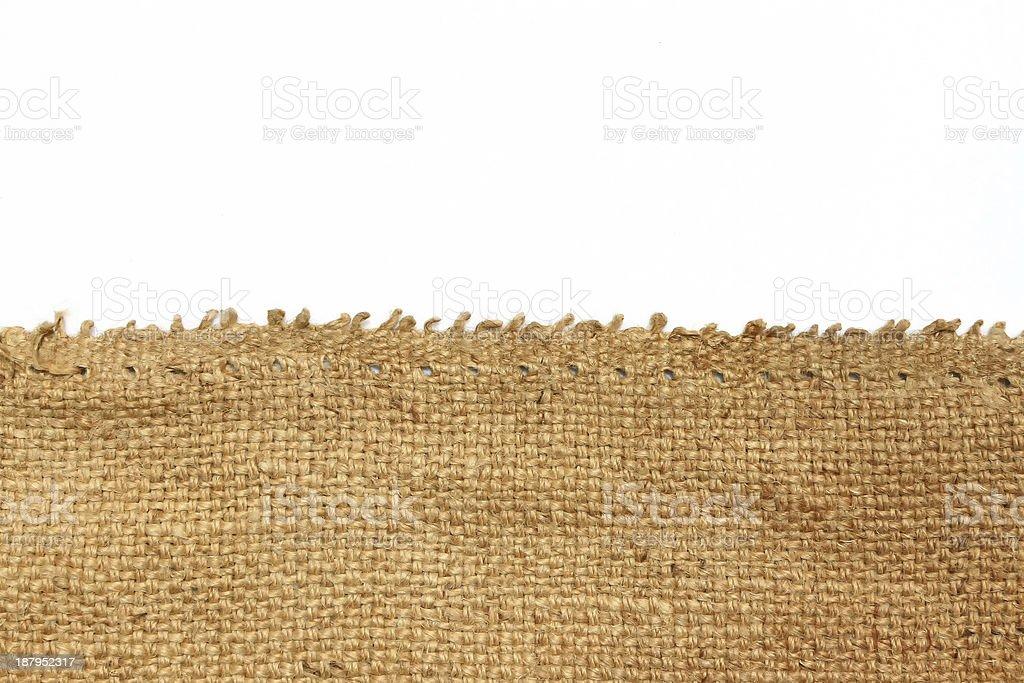 Hemp sack isolated white background. stock photo