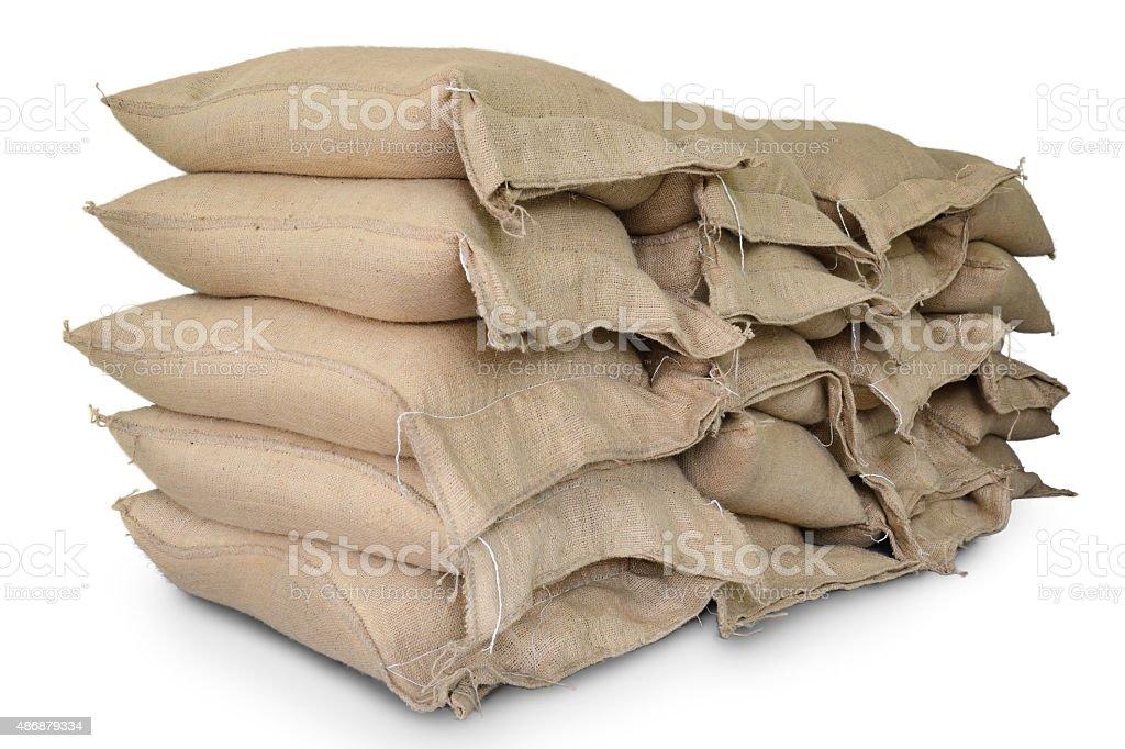 Hemp sacks containing rice stock photo