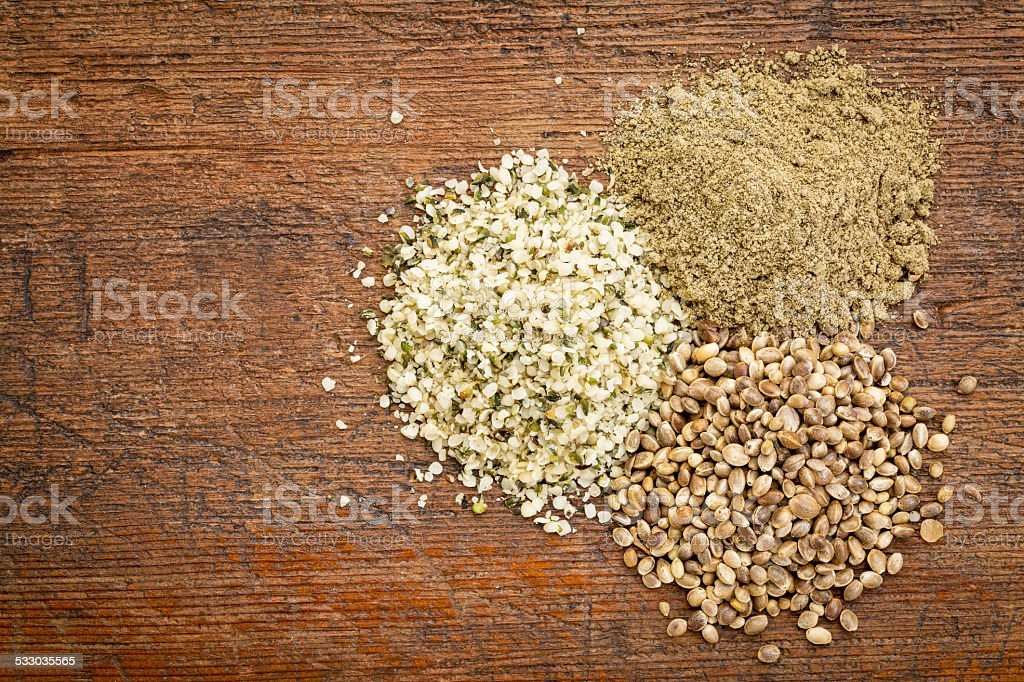 hemp seed and protein powder stock photo