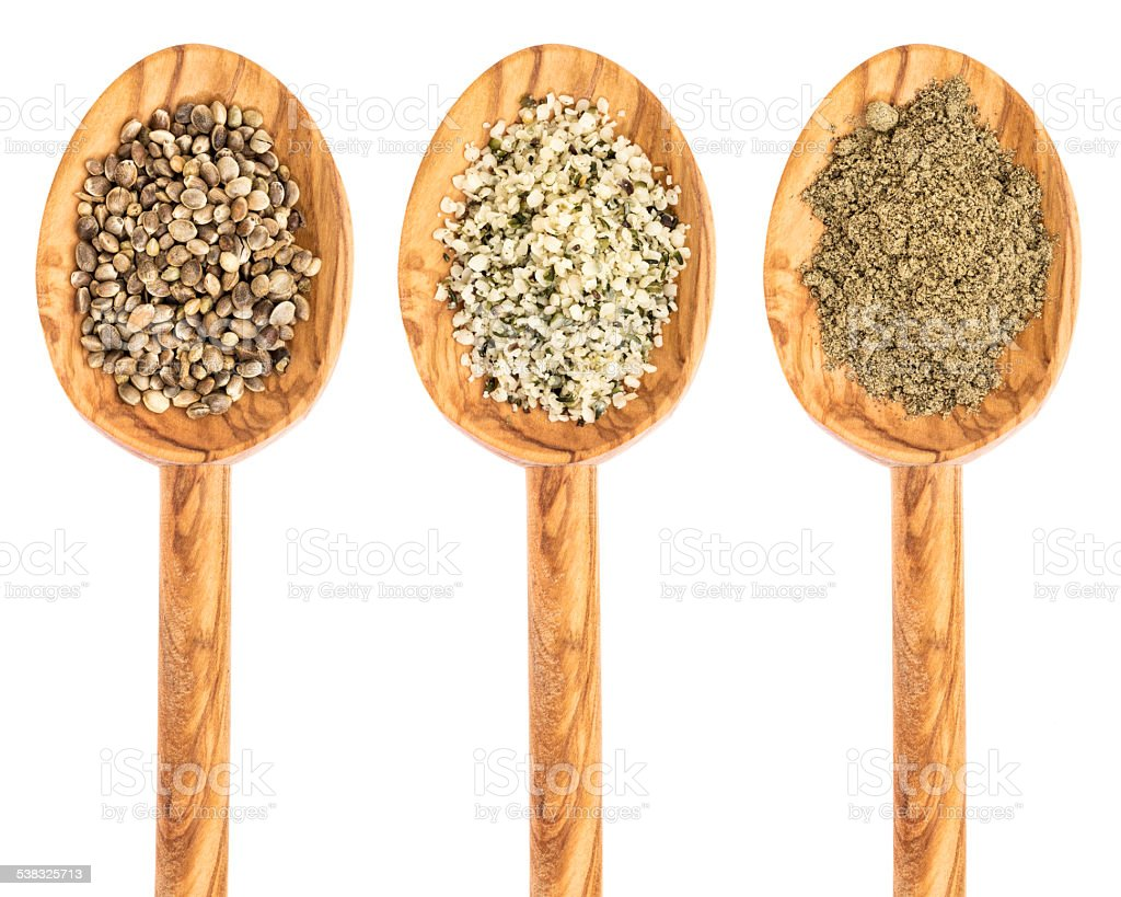hemp seed, hearts and protein powder stock photo