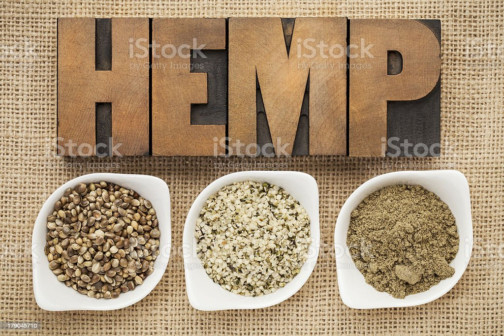 hemp seeds, hearts and prtotein stock photo