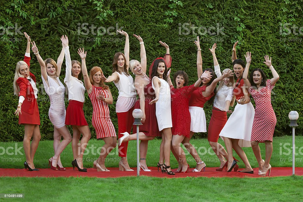 Hen party: white and red stock photo