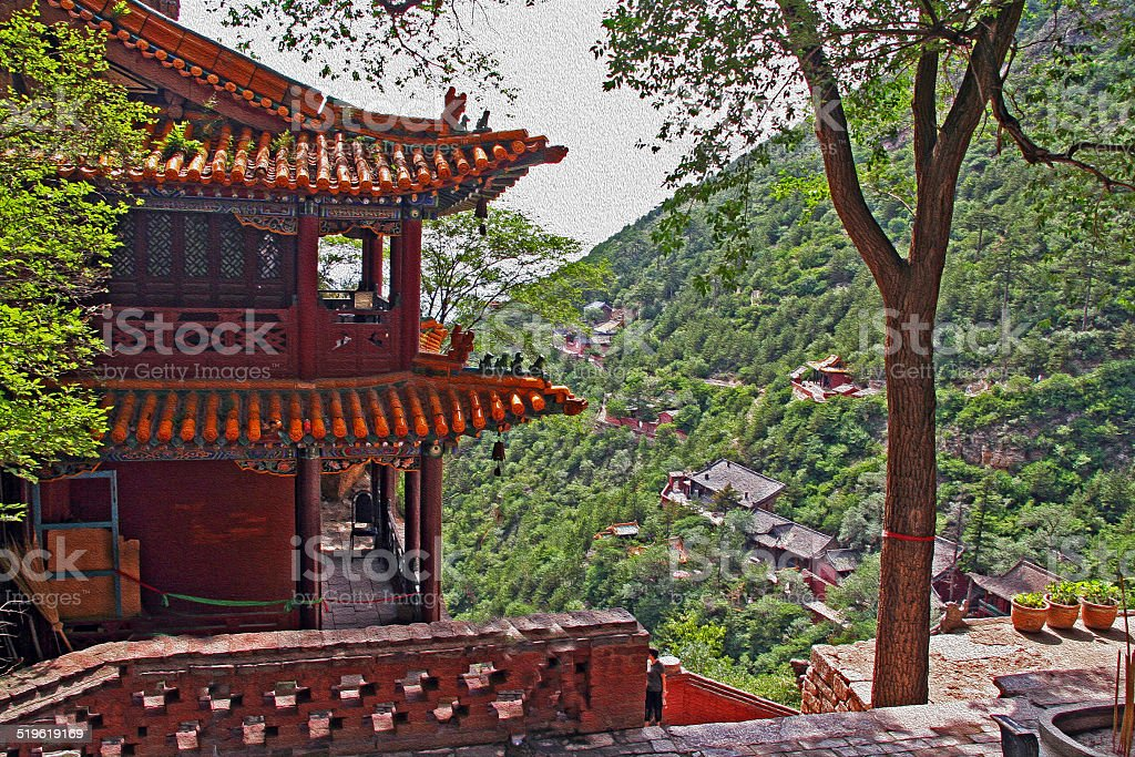 heng shan monastery in Shanxi Province near Datong, China,  oil stock photo