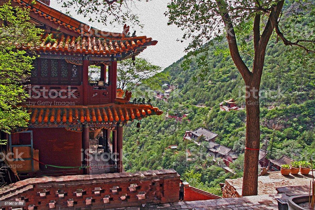 heng shan monastery in Shanxi Province near Datong, China,  oil stock photo