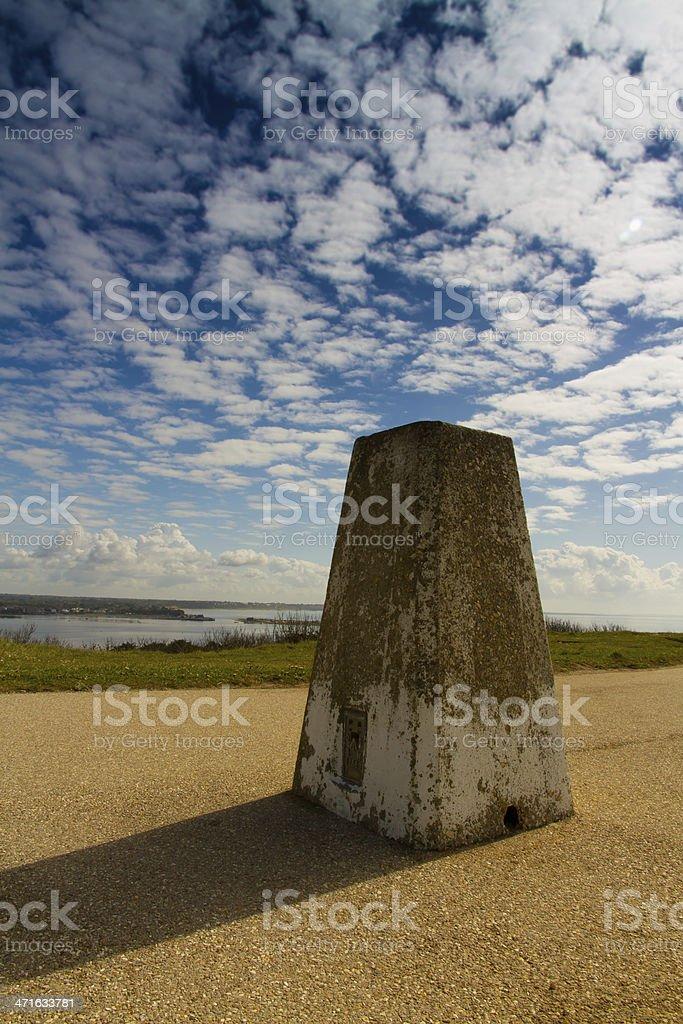 Hengistbury Trig Point stock photo