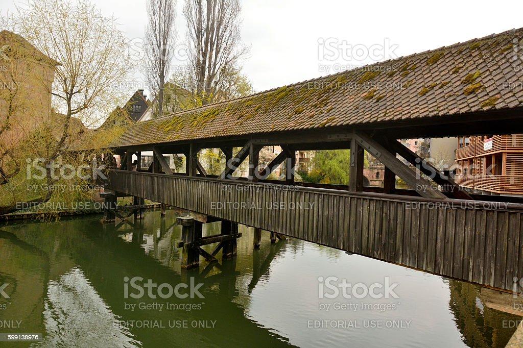 Henkersteg covered bridge in Nuremberg stock photo