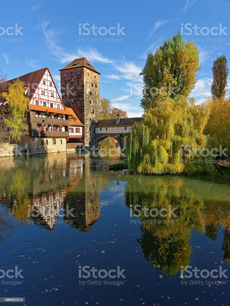 Henkersteg - old tower and half timbered house stock photo