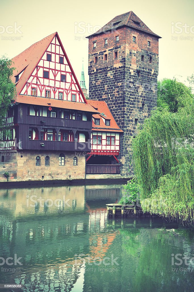 Henkerturm tower in Nuremberg stock photo
