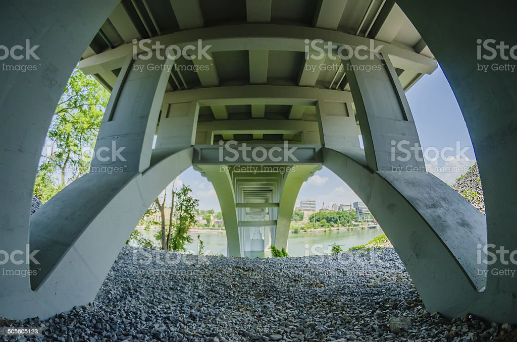 Henley Bridge over the Tennessee River Knoxville stock photo