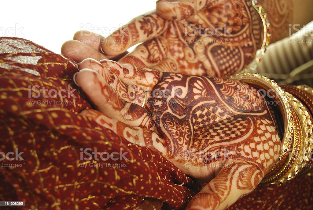 Henna(Mehandi) and bangles - Indian Bride's hand royalty-free stock photo