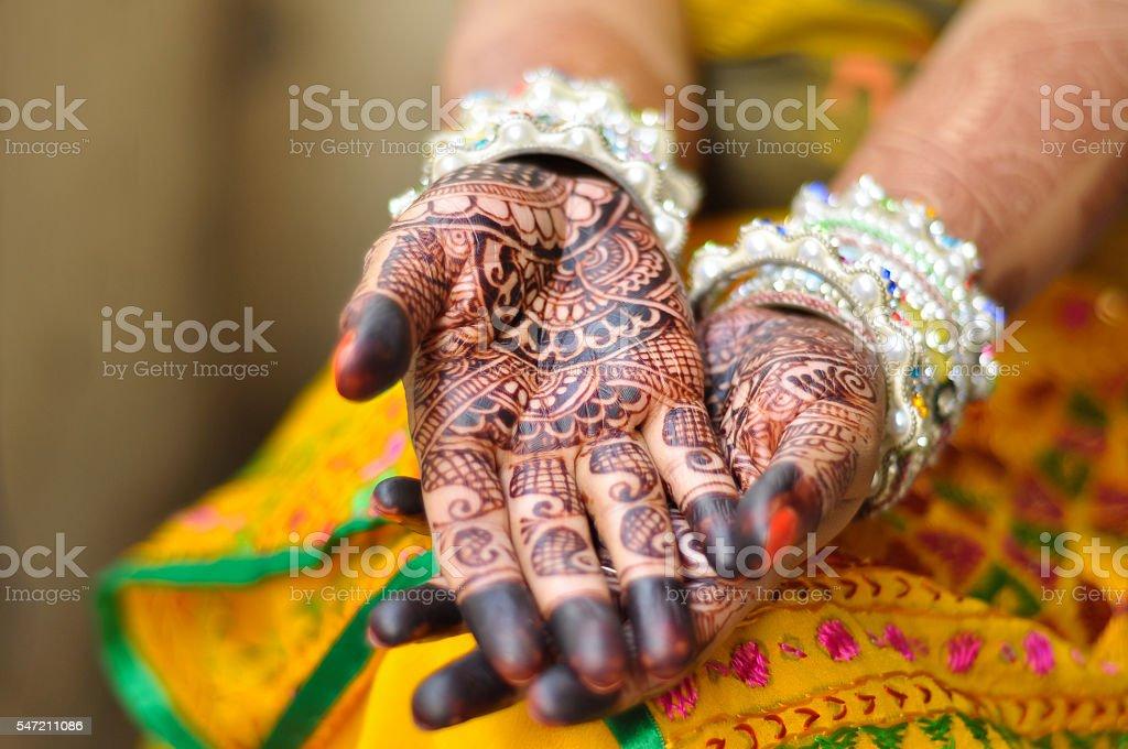 Henna and bridal jewelry, wedding, India stock photo