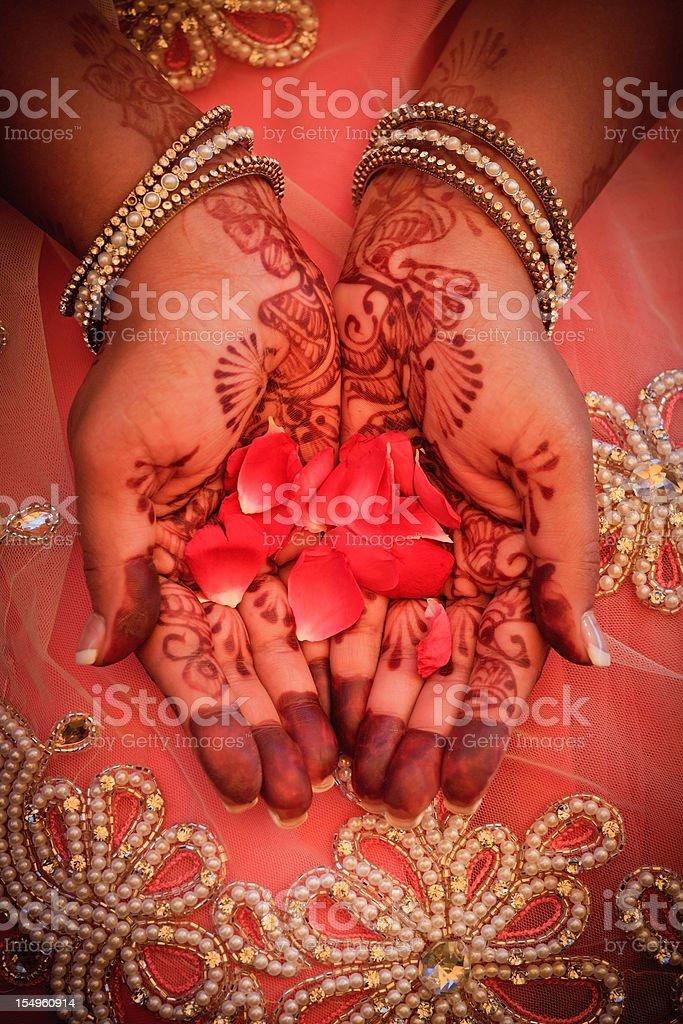 Henna and rose petals royalty-free stock photo