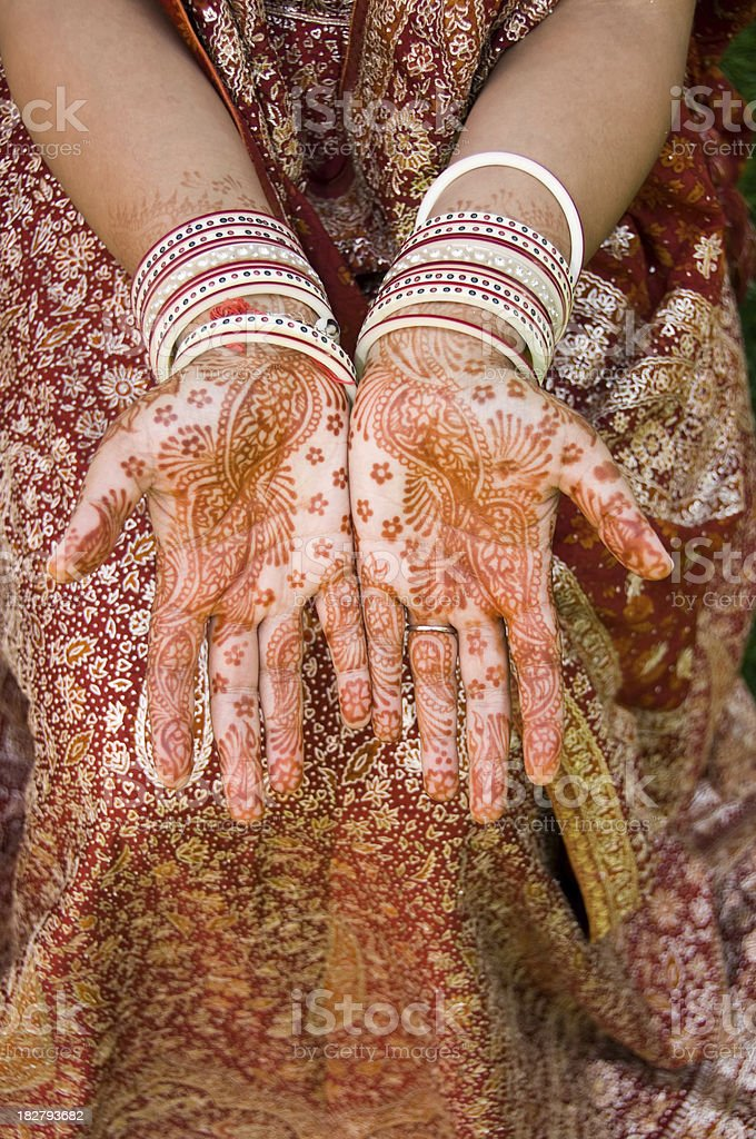 henna decoration on an Indian woman royalty-free stock photo
