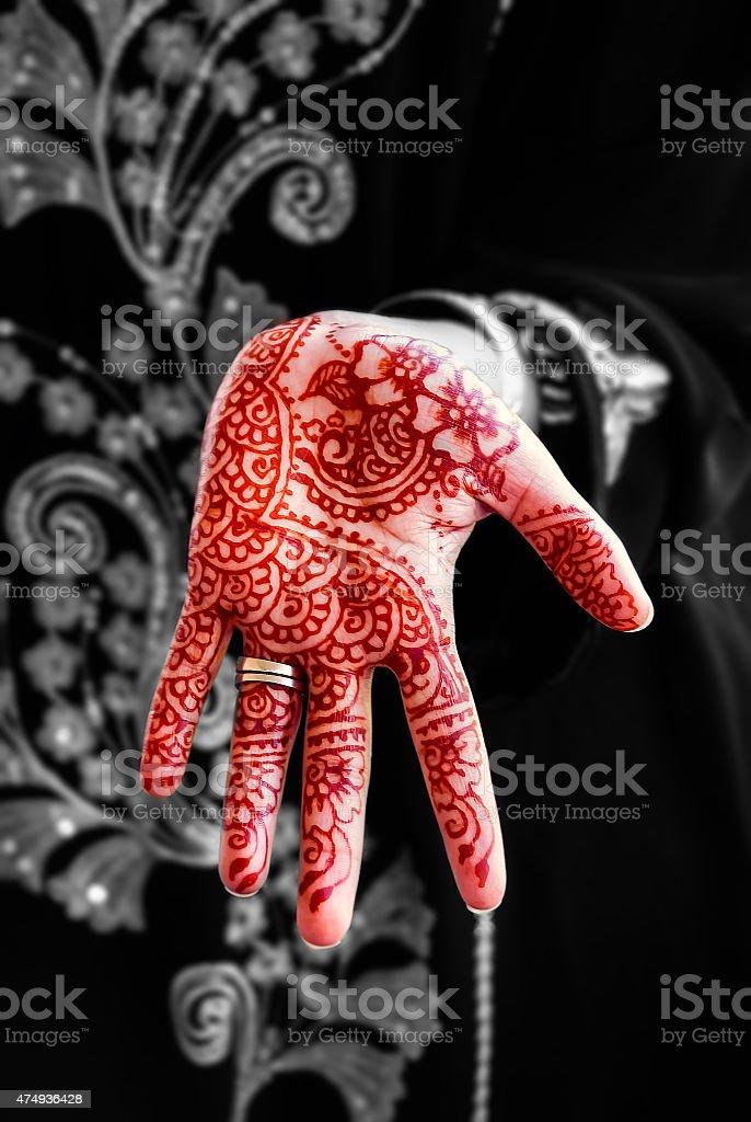 Henna hand tattoo body art tradition color stock photo