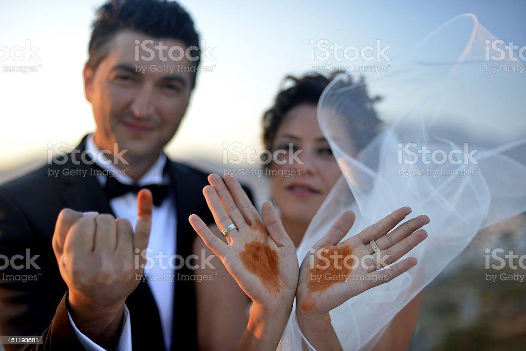 Henna Hands from Wedding Ceremony stock photo
