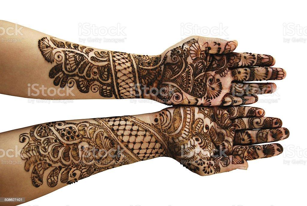 Henna (Mehandi) - Isolated over white stock photo